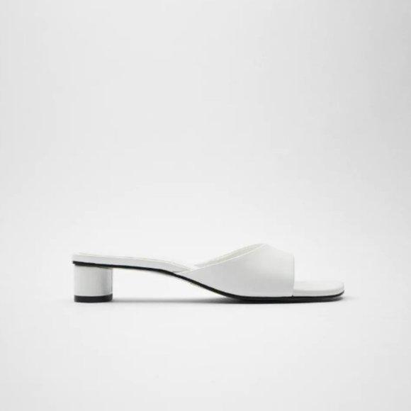 Zara /White, Block Heel /Square Toe Sandals